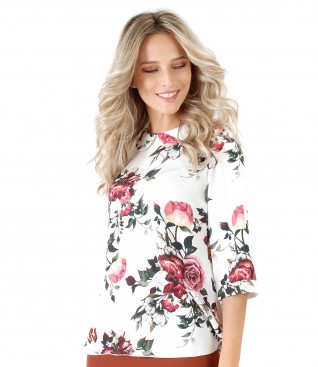 Bluza din vascoza imprimata cu trandafiri