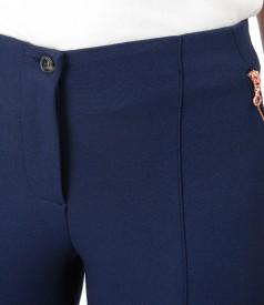 Pantaloni pana cu fermoar decorativ