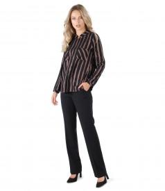 Pantaloni drepti cu bluza in dungi cu fir metalic aramiu