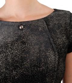 Rochie din catifea imprimata cu motive aurii si aplicatie cristale