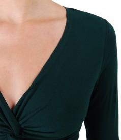 Bluza din jerse elastic cu nod pe bust