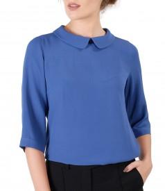 Bluza din vascoza cu guler rotund