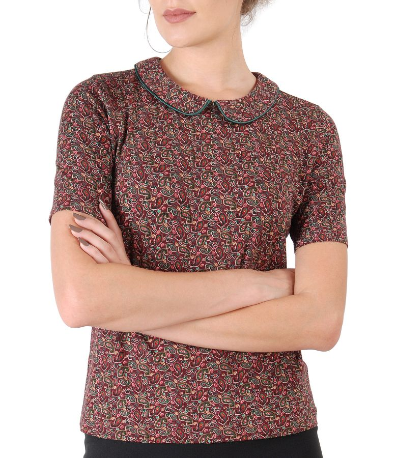 Bluza eleganta din jerse elastic imprimat cu motive florale