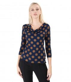 Bluza din jerse elastic imprimat cu cercuri