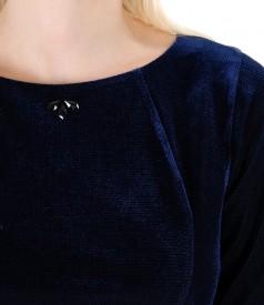Rochie midi din catifea elastica si aplicatie de cristale