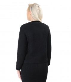 Sacou elegant din bucle negrucu lana si alpaca