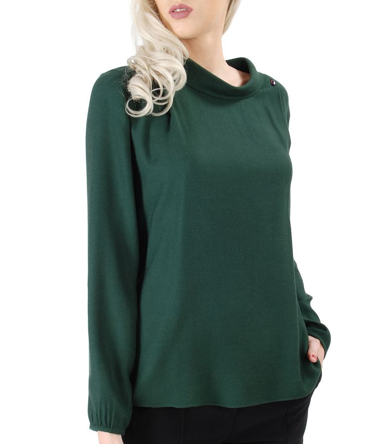 Bluza din vascoza cu lana si aplicatie de cristale