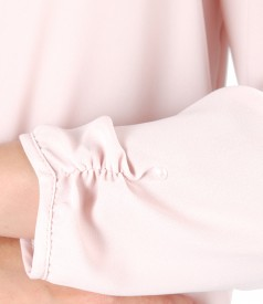 Bluza cu maneci lungi si guler tip esarfa
