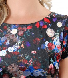 Rochie din catifea elastica cu motive florale