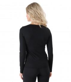 Bluza din jerse elastic cu fata din catifea brocata