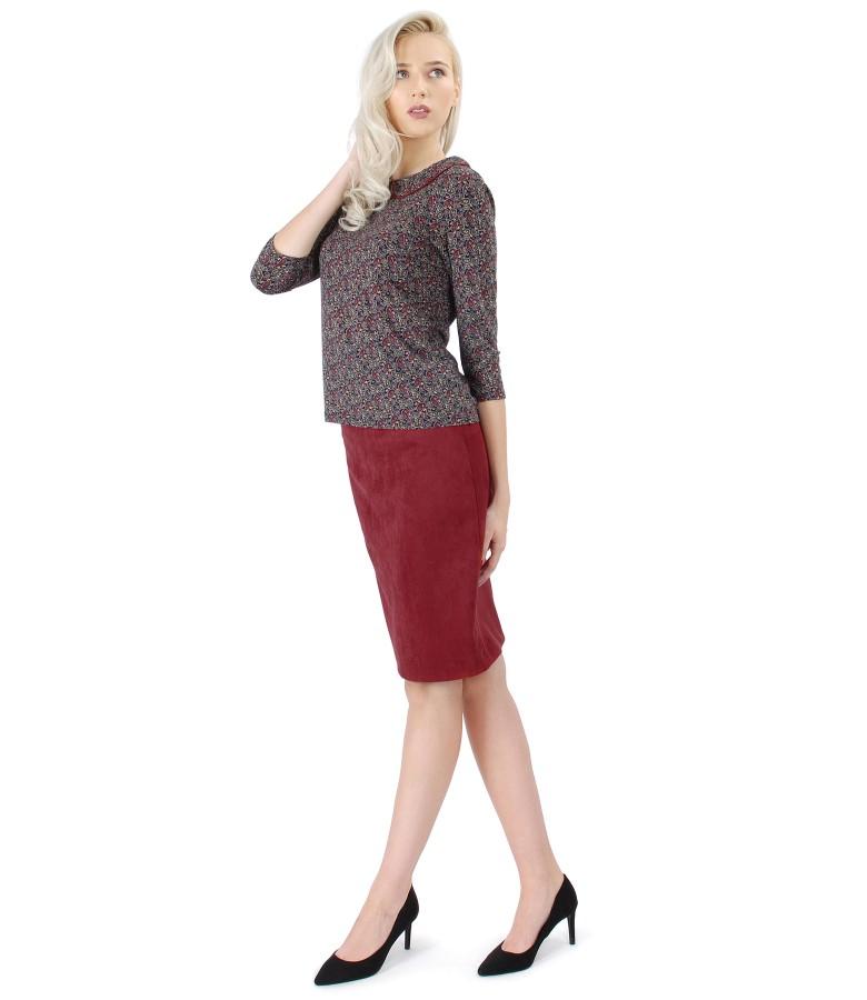 Fusta din stofa cu aspect catifelat si bluza din jerse elastic imprimat