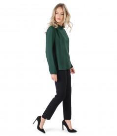 Bluza din viscoza cu lana si pantaloni pana