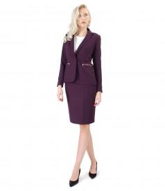 Costum dama office cu fusta si sacou din stofa elastica mov pruna