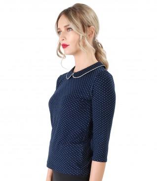 Bluza eleganta din jerse elastic imprimat cu picouri