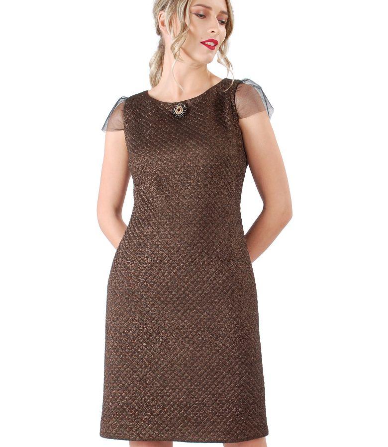 Rochie din brocart elastic cu fir de efect aramiu