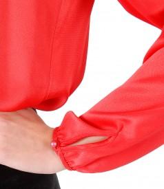 Bluza din saten de viscoza cu maneci lungi