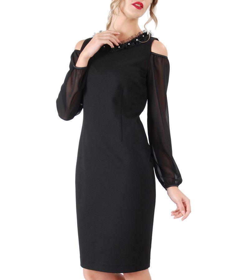 Rochie din jerse elastic gros cu maneci din voal