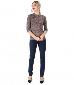 Pantaloni pana cu bluza din jerse elastic imprimat