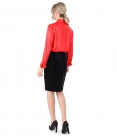 Bluza din viscoza cu fusta din catifea neagra