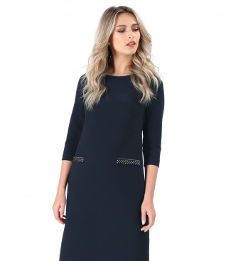 Rochie din stofa elastica groasa cu clape false