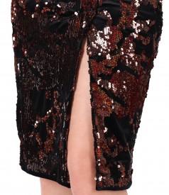 Rochie din catifea brodata cu paiete reversibile