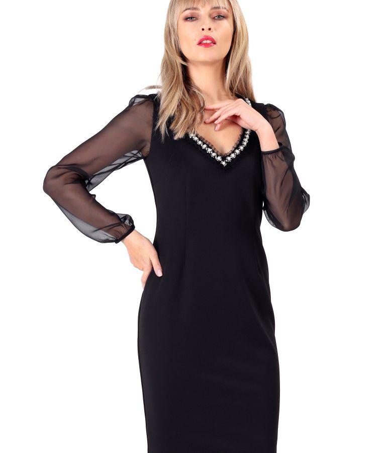 Rochie eleganta cu maneci lungi din voal