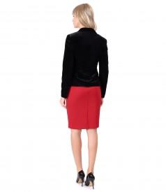 Rochie din jerse elastic gros cu sacou din catifea