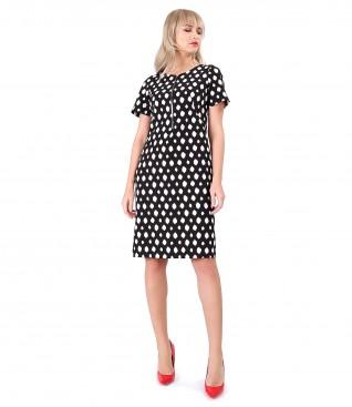 Rochie din stofa elastica imprimata cu motive geometrice