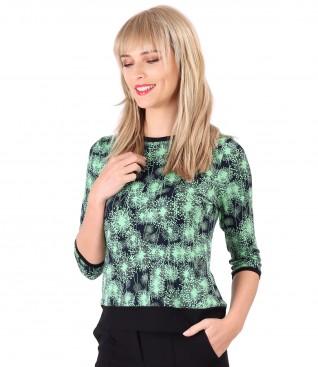 Bluza din jerse elastic cu garnitura contrast