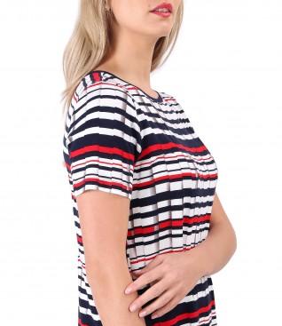 Bluza din jerse elastic imprimat cu dungi
