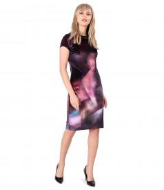 Rochie din catifea elastica si aplicatie de cristale