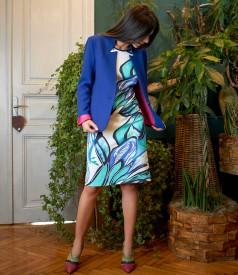 Rochie din bumbac imprimat cu sacou cu guler gen tunica