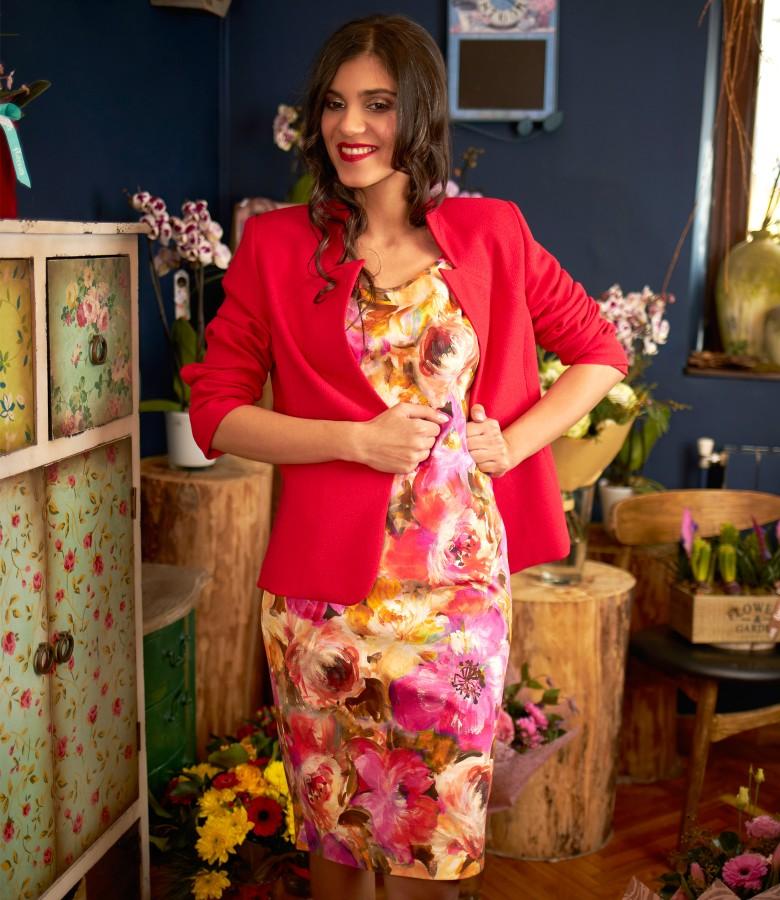 Tinuta eleganta cu sacou si rochie din bumbac imprimat