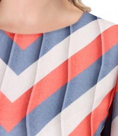 Rochie din voal imprimat cu dungi