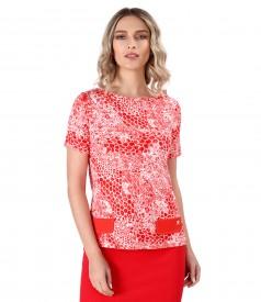 Bluza din jerse elastic cu print leopard 3d