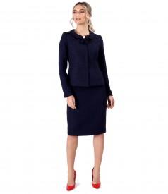 Costum dama office cu fusta si sacou din bucle cu vascoza