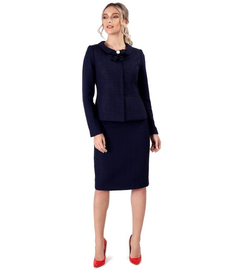 Costum dama office cu fusta si sacou din bucle cu viscoza