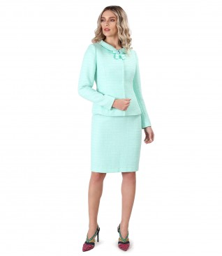 Costum dama office cu sacou si fusta din bucle de viscoza