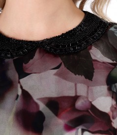 Rochie eleganta cu guler rotund cu margele