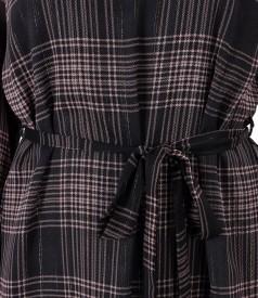 Rochie din voal in carouri cu cordon