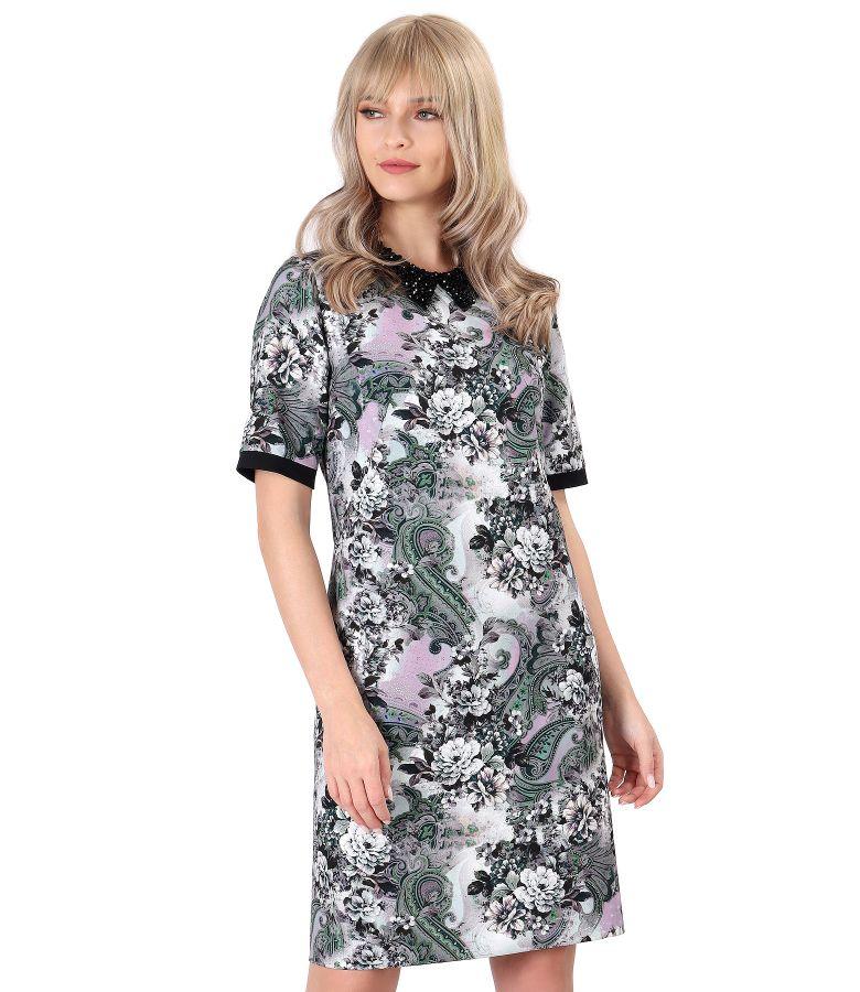 Rochie eleganta cu guler cu margele