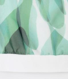 Bluza cu fata din voal imprimat cu motive florale