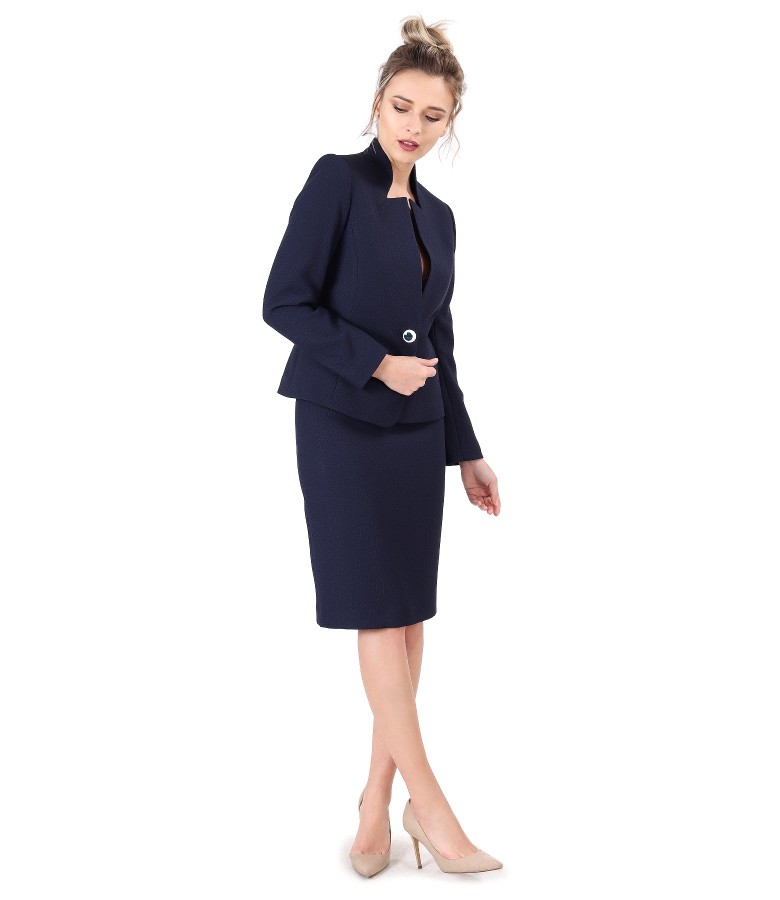 Costum dama office cu fusta si sacou din stofa elastica