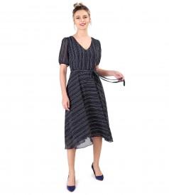 Rochie eleganta din voal imprimat cu dungi