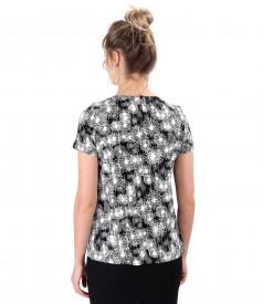 Bluza din jerse elastic imprimat cu funda din rips la decolteu