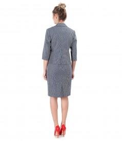 Costum dama office cu rochie si sacou din bumbac texturat cu dungi