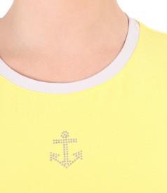 Bluza din jerse elastic cu ornament pe fata