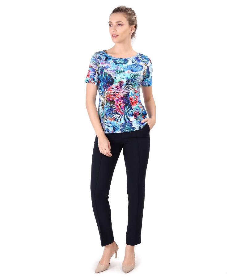 Bluza din jerse elastic imprimat cu flori si pantaloni pana
