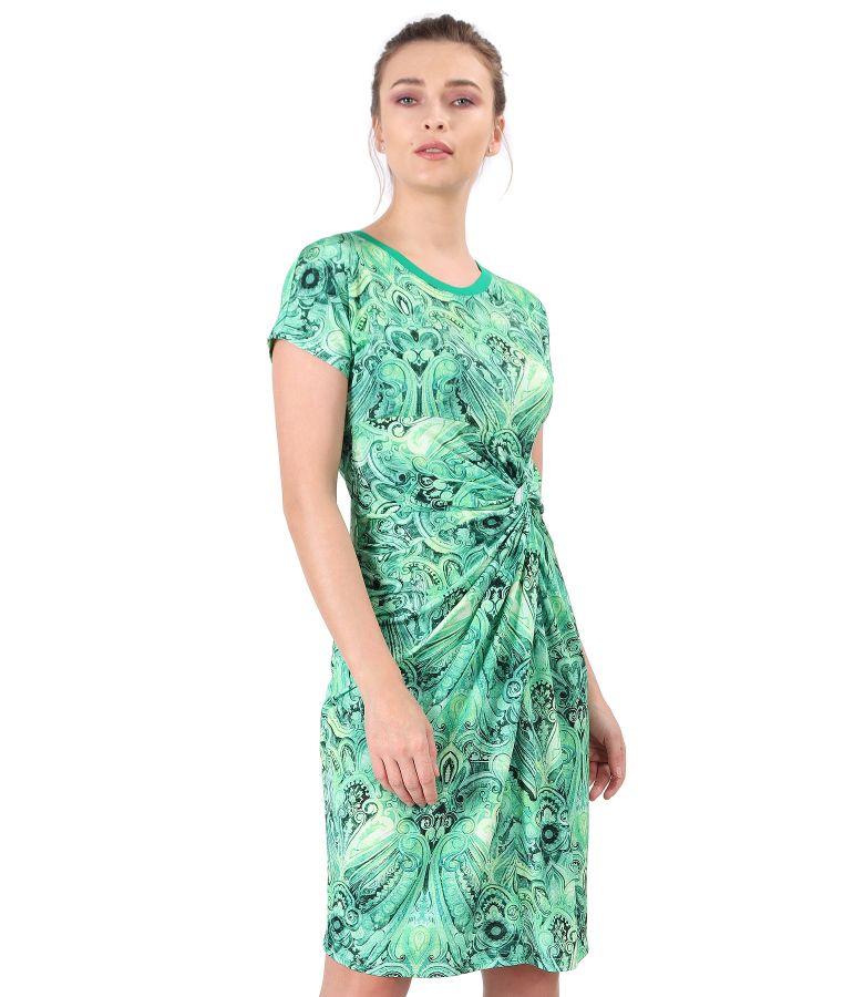 Rochie din jerse elastic cu nod pe fata