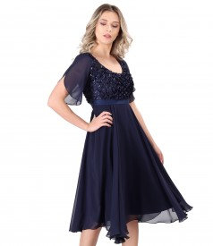 Rochie cu corset din dantela cu flori si paiete